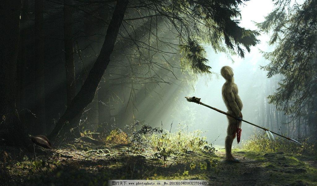 野人 动物 森林 树林 匕首 设计 底纹 丛林 绿色 武器 生物 cg美女图片