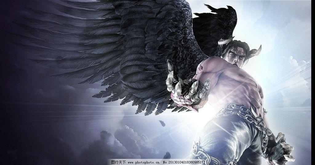 黑天使 天使 闪电 黑色 铁链 帅哥 翅膀 光线 邪恶 游戏人物 动漫人物