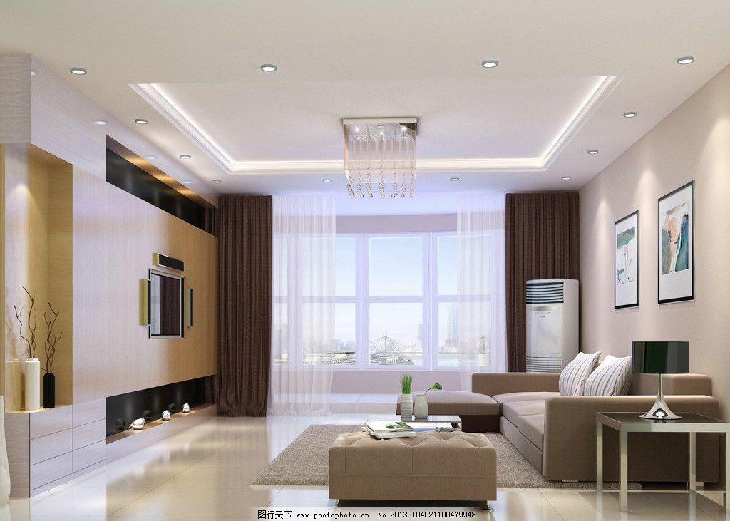 家装客厅 室内设计 电视背景墙 现代简约 美观 实用 水晶球灯饰 3d