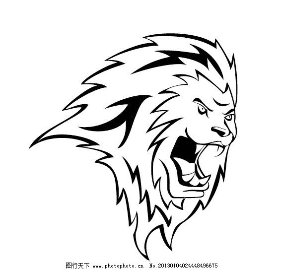 猛狮的头部 手绘稿 狮子 头部 猛狮 手绘 黑白画 野生动物