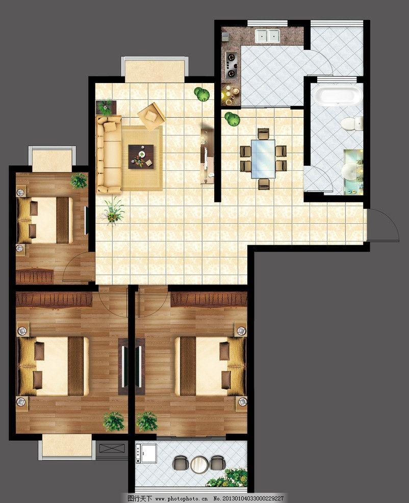 户型图 室内家具布置图 平面图 源文件