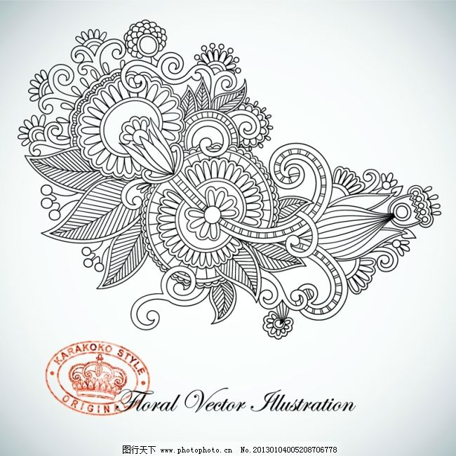 矢量手绘线描复古欧式花纹