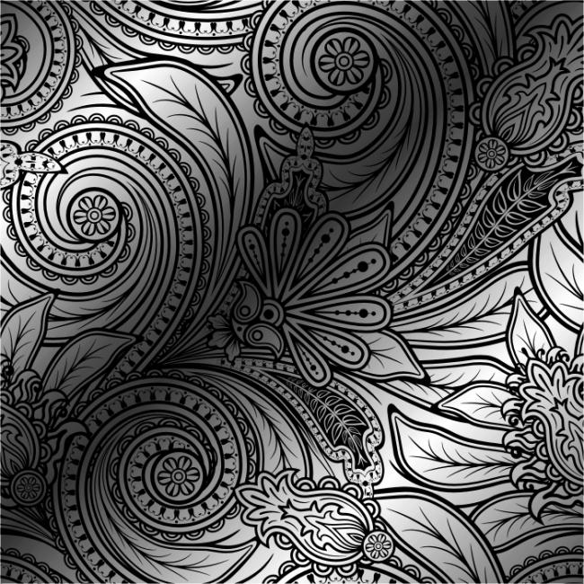 矢量复古线条植物花纹背景