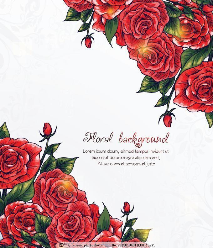 玫瑰花卡片矢量素材 玫瑰花卡片模板下载 玫瑰花卡片 贺卡 花纹花卉