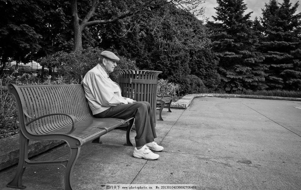 老人 黑白 人物 公园 长椅 老年人物 人物图库 摄影 72dpi jpg