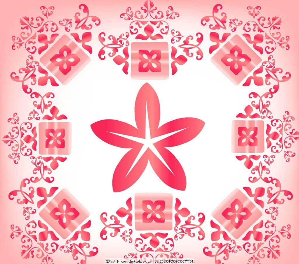 红色花背景 红色 花 背景 花纹 渐变 高清 五角星 花边花纹 底纹边框