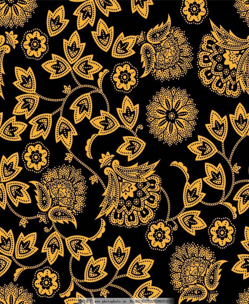 布料花纹 金色 黑色 花朵 服饰 背景 背景底纹 欧式 情怀 花边花纹