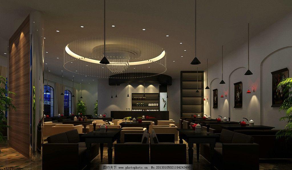 咖啡厅效果图 咖啡厅 餐厅 收银台 形象墙 小吊灯 西餐厅 晚上效果 3d