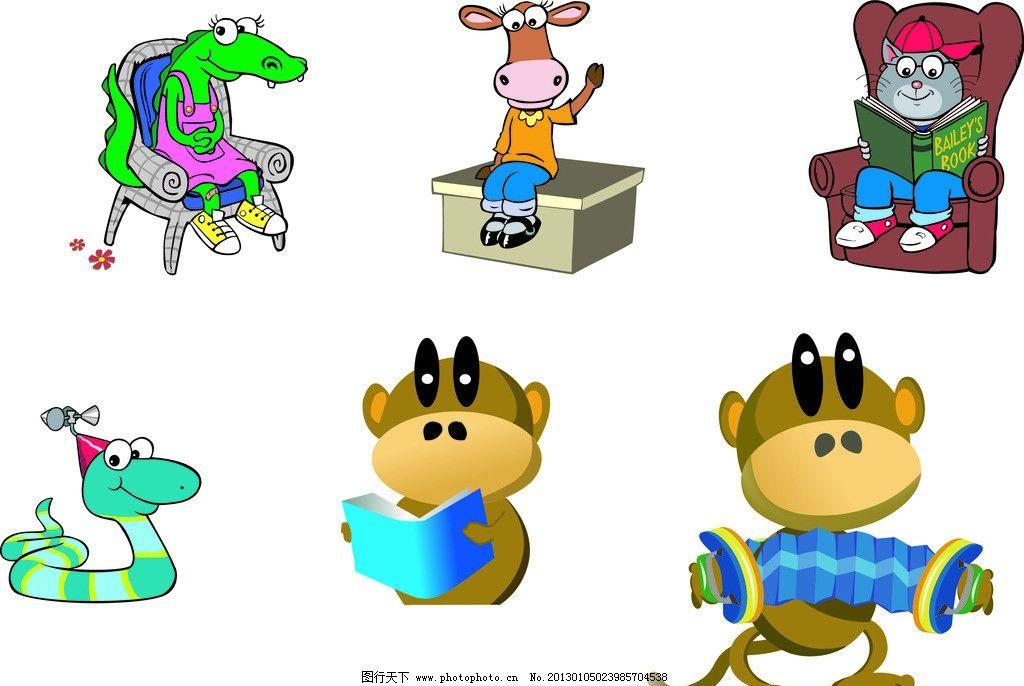 卡通动物 矢量动物 蛇 狗熊 黑熊 毛驴 书本 拉风琴 桌子 卡通素材