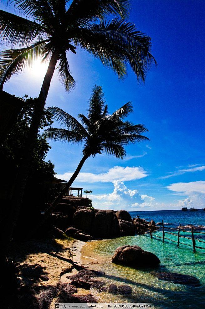 椰子树 蓝天 白云 阳光 海边 碧海 国外旅游 旅游摄影 摄影 340dpi