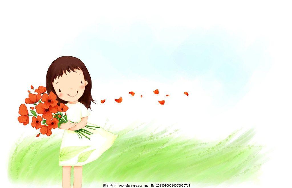 怀抱鲜花的女孩 花朵 青草 草地 花瓣 少女 姑娘 漫画 裙子 可爱 动漫