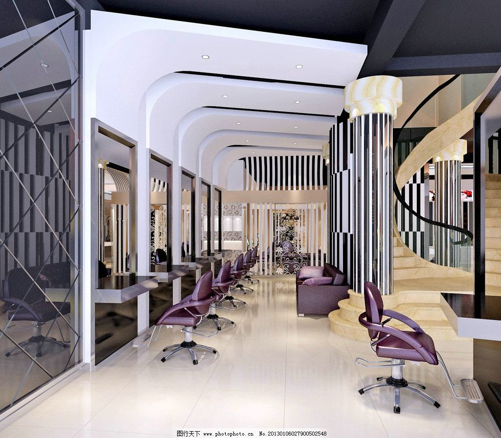 理发店 装修 工作区 造型 桌椅 室内设计 环境设计 设计 72dpi jpg