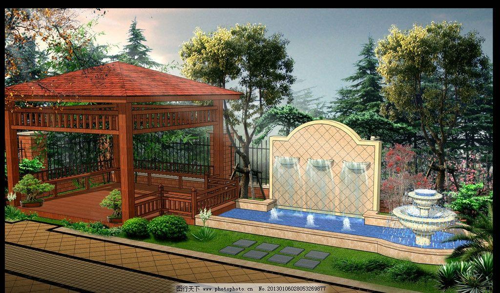 别墅庭院效果图 别墅 庭院 花园 四角亭 欧式水景 建筑设计 环境设计