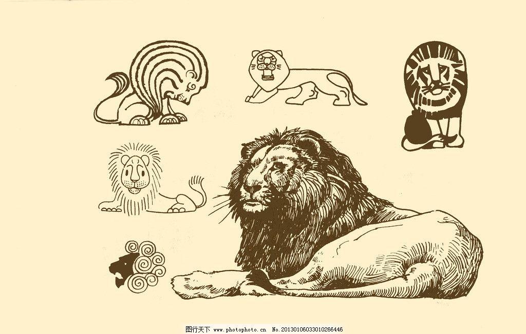 动物图案 狮子 卡通 纹样 白描 简笔画 儿童画 野兽 源文件