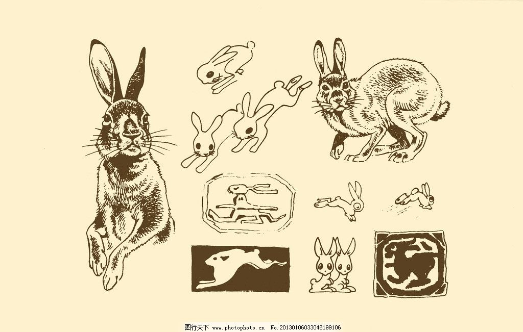 动物图案 兔子 卡通 动物 纹样 图案 白描 简笔画 儿童画 白兔 psd