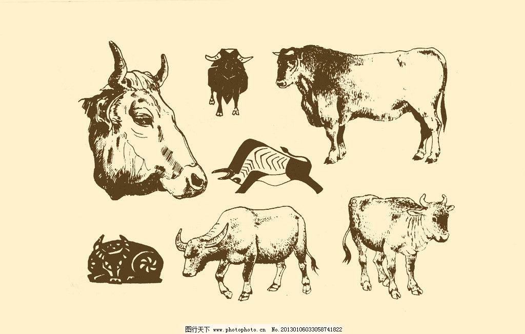 动物图案 牛 卡通 纹样 白描 简笔画 儿童画 牛头 源文件