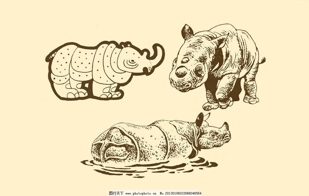 犀牛帅气铅笔手绘图片