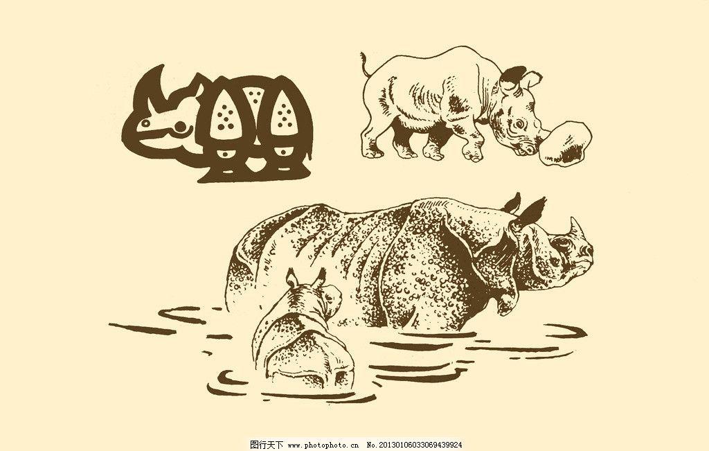 动物图案 犀牛 卡通 动物 纹样 图案 白描 简笔画 儿童画 独角兽 psd