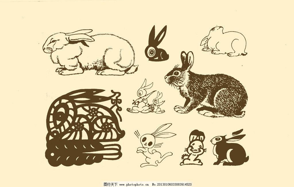 动物图案 兔子 卡通 动物 纹样 图案 白描 简笔画 儿童画 白兔 psd-坐在