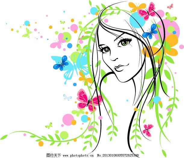 线描纹样 线条 植物花纹 植物花纹 线描纹样 线条 手绘头像 美女线稿
