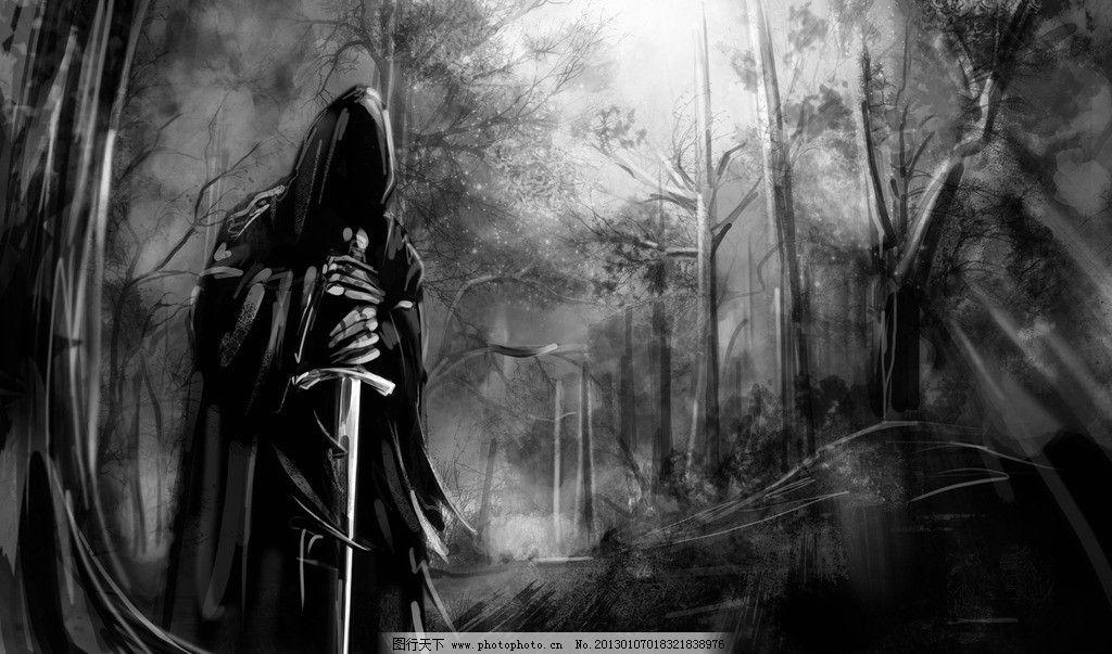 死神 死亡 黑白 剑 森林 桌面 壁纸 高清 另类 动漫动画