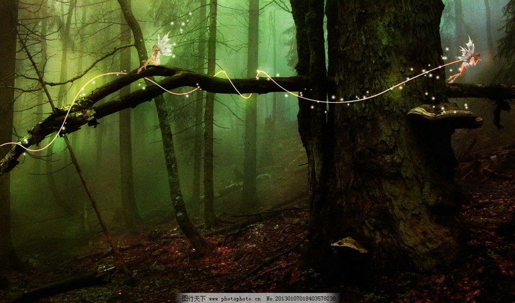 森林精灵原始风景油画图片大全