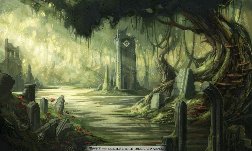 一缕阳光 残垣 断壁 树木 森林 童话背景 梦幻背景 童话世界 夜晚