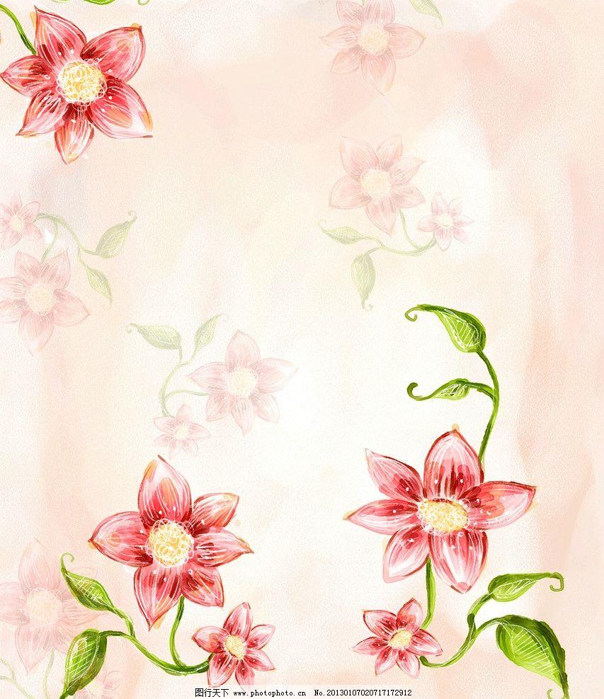 美丽花朵 手绘 线条 叶子 水彩 绿叶 花瓣 红花 梦幻背景 纹理