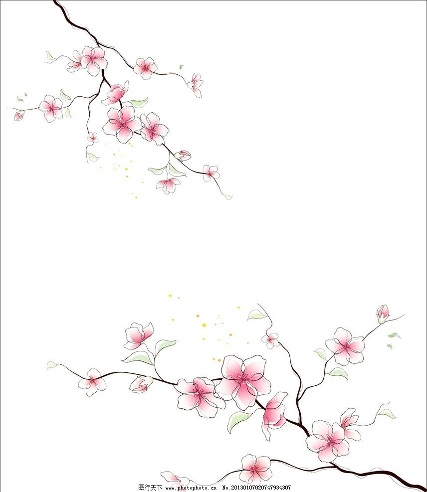 梅花 红花 树枝 手绘 美丽