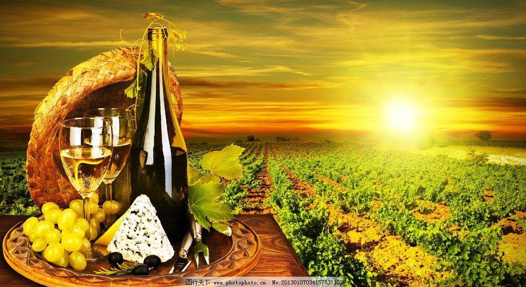庄园 红酒 葡萄酒 高脚杯 葡萄园 城堡 法国 意大利 提子 绿叶 酒桶