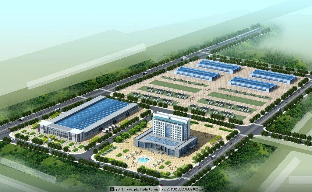 厂房规划鸟瞰 物流 园区 办公楼 厂房 鸟瞰 建筑 景观 道路 建筑设计