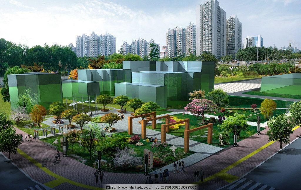 居住区广场设计 居住区 景观 广场 绿化 植物 花坛 建筑 设计 环境