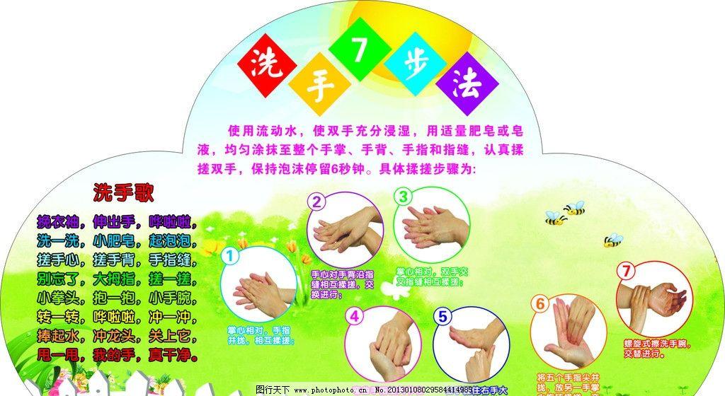 洗手七步法 洗手歌 洗手 最新洗手步骤 洗手步骤 卡通底板 幼儿园展板