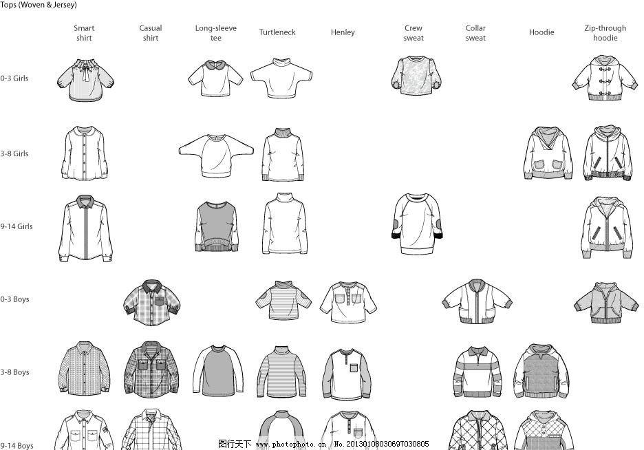 服装手绘稿款式图 服装款式图 衣服款式图 矢量