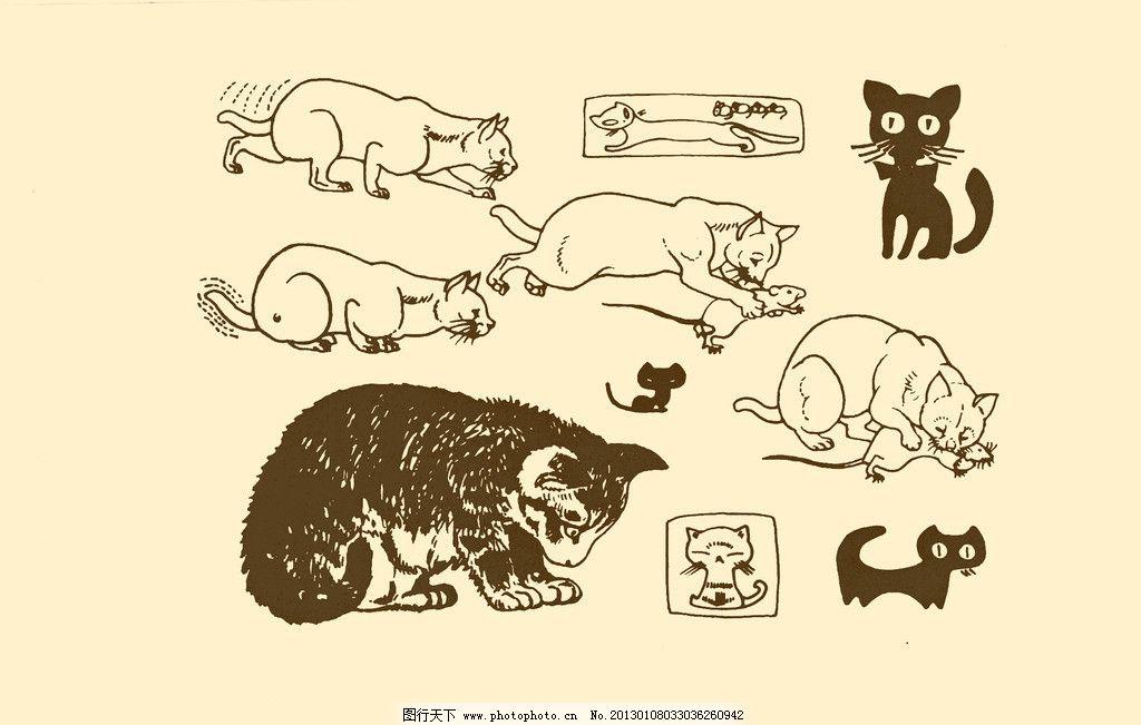 动物图案 猫 卡通 动物 纹样 图案 白描 简笔画 儿童画 猫科动物 psd