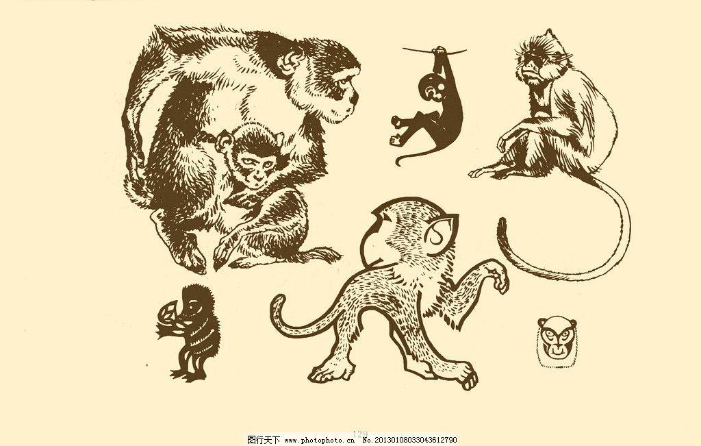 动物图案 猴图片