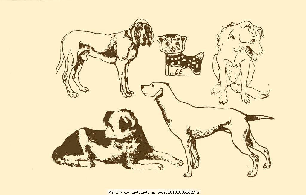 动物图案 狗 卡通 纹样 白描 简笔画 儿童画 源文件