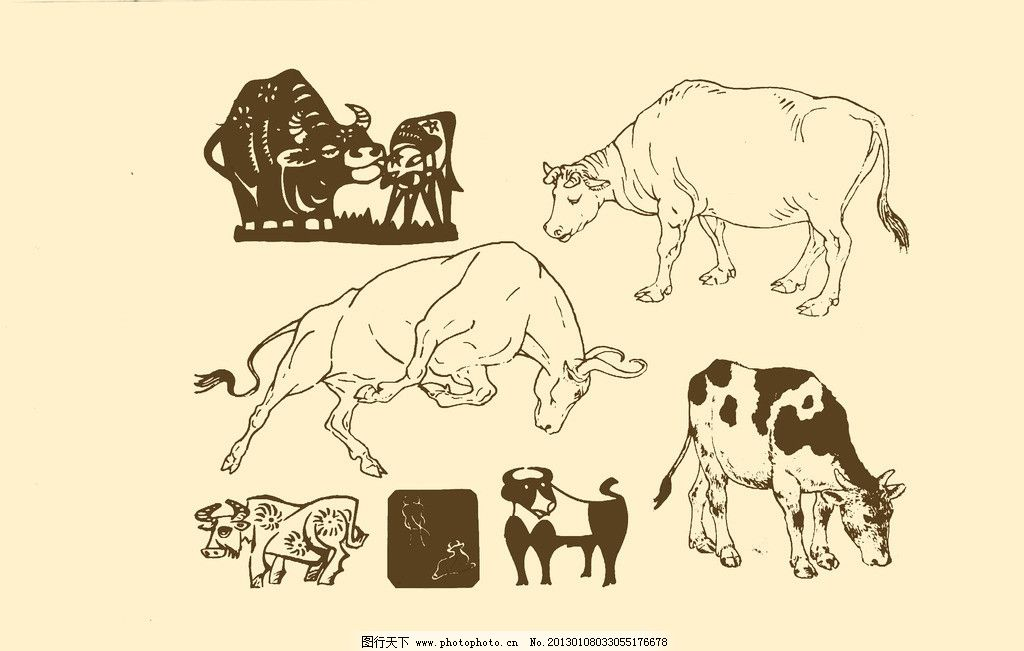 动物图案 牛 卡通 动物 纹样 图案 白描 简笔画 儿童画 psd分层素材