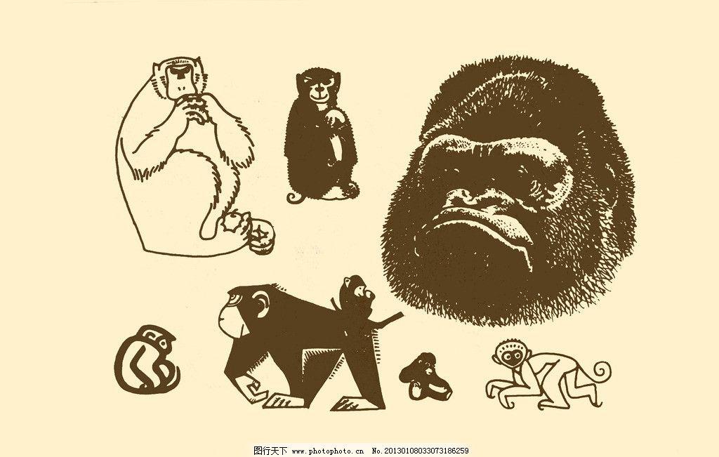 动物图案 猴 卡通 动物 纹样 图案 白描 简笔画 儿童画 猴子 大猩猩