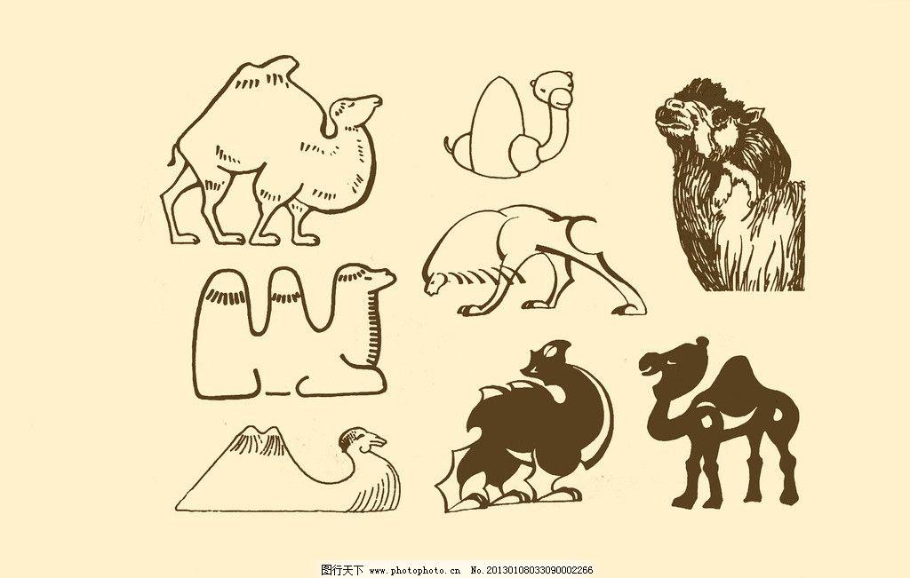 动物图案 骆驼 卡通 纹样 白描 简笔画 儿童画 源文件