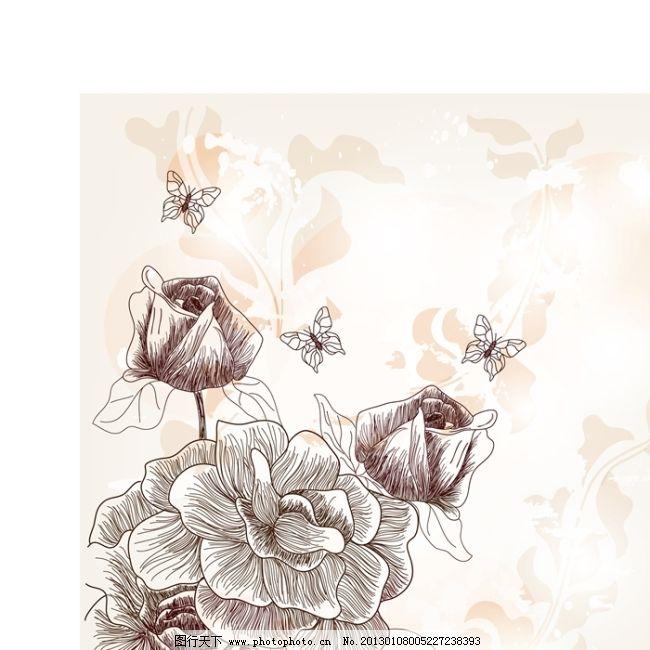 矢量手绘线条插画花朵背景