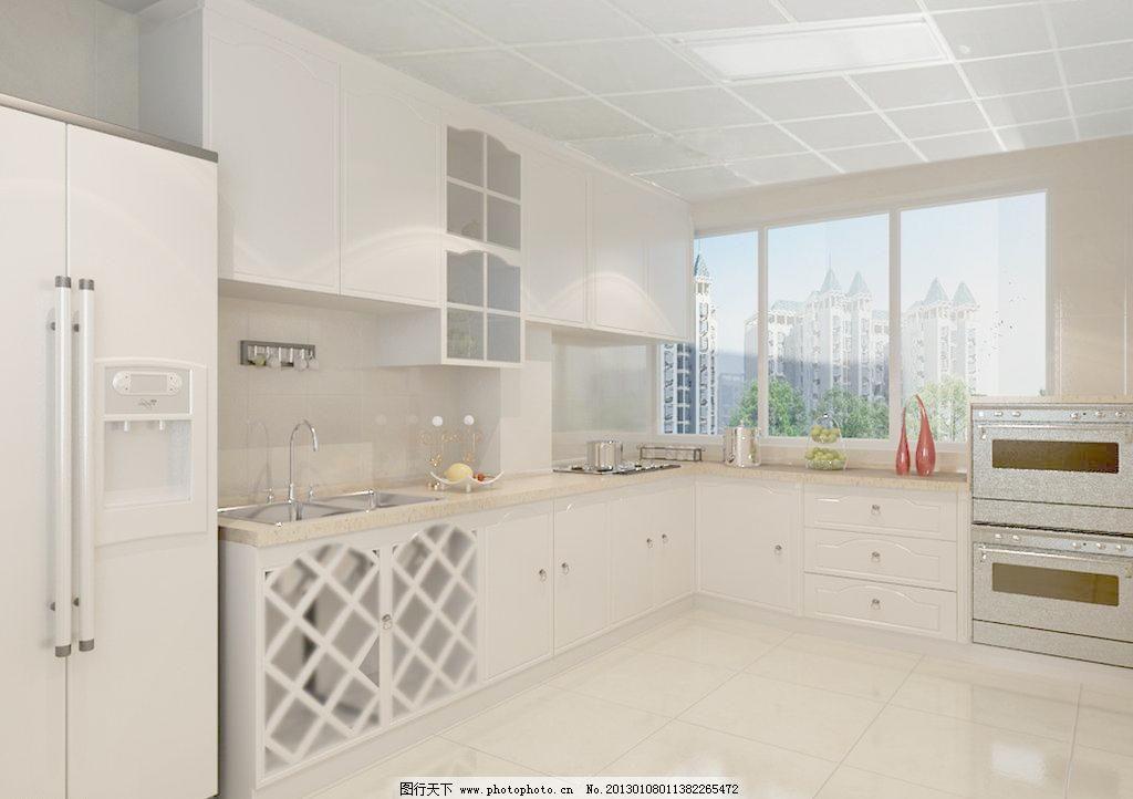 厨房样板间效果图 冰箱 橱柜 烤箱 厨房样板间效果图设计素材 厨房
