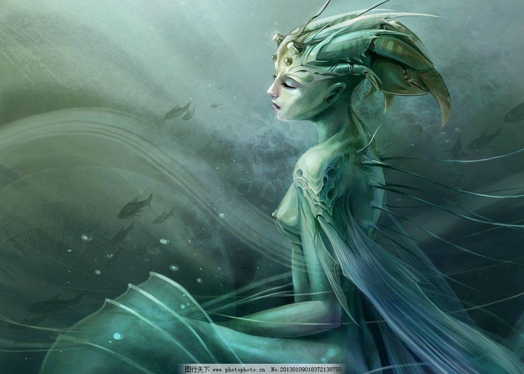 海底世界 水 龙女 美人鱼 美女 插画 游戏人物设计 游戏美女