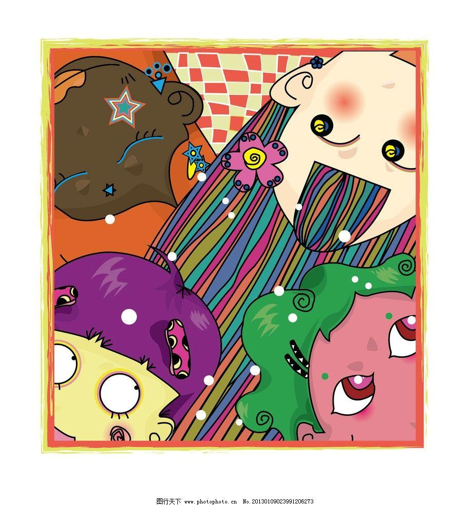 个性可爱动漫女孩 四个人 女孩 动漫 可爱 个性 彩色丰富 肤色不同 大