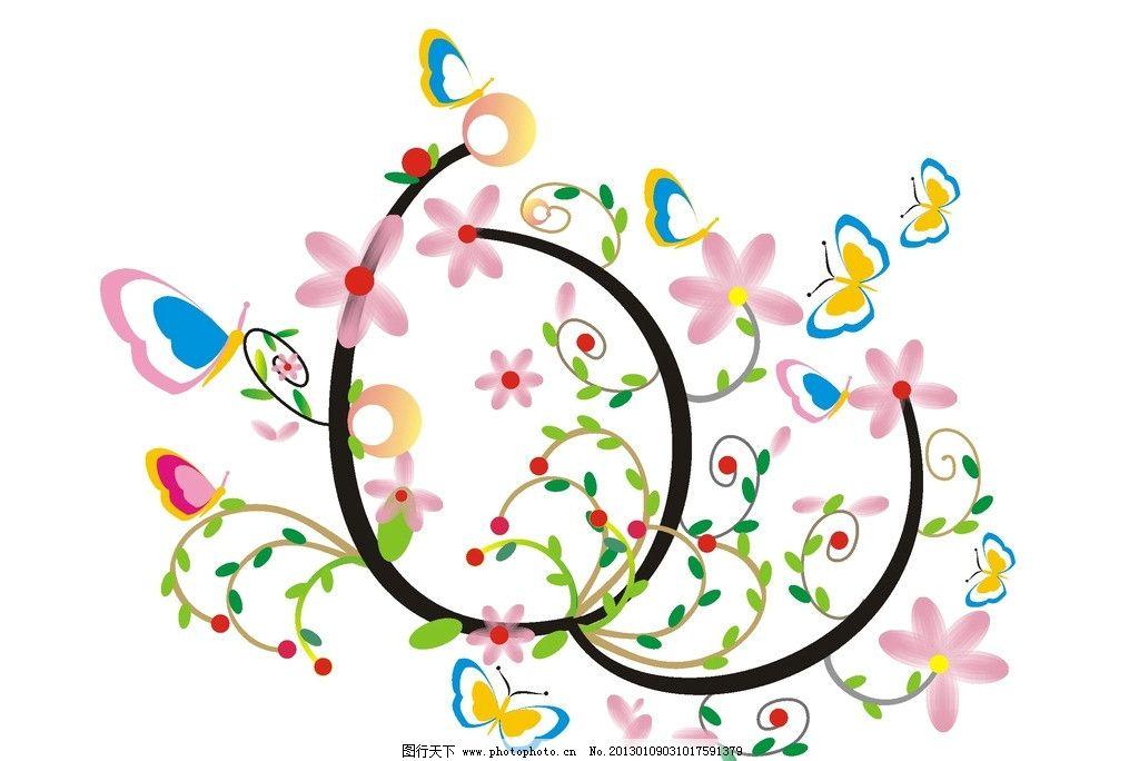 鲜花盛开 蝴蝶飞舞 花朵 蝴蝶 花藤 花瓣 落花 绿叶 树叶 花纹 装饰