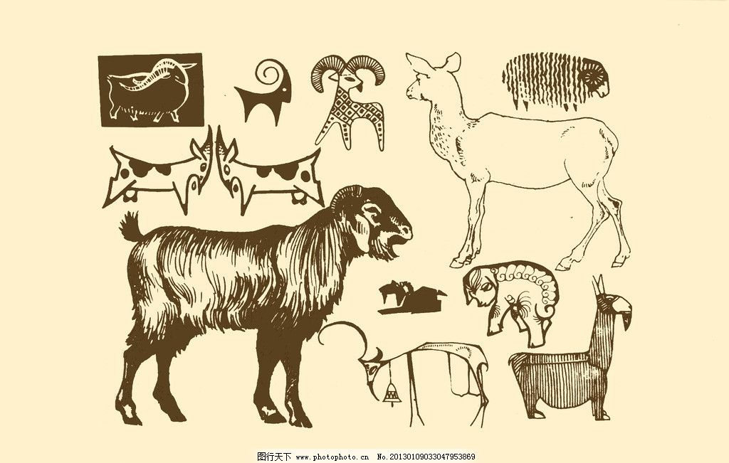 动物图案 羊 卡通 纹样 白描 简笔画 儿童画 山羊 源文件