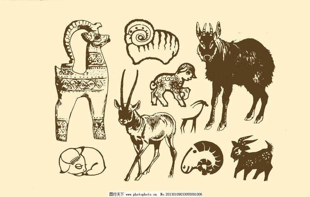 动物图案 羊 卡通 动物 纹样 图案 白描 简笔画 儿童画 山羊 psd分层