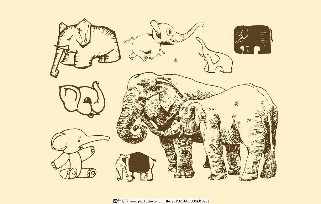 动物图案 大象 卡通 纹样 白描 简笔画 儿童画 源文件