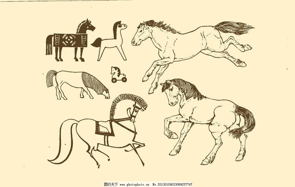 动物图案 马 卡通 纹样 白描 简笔画 儿童画 源文件