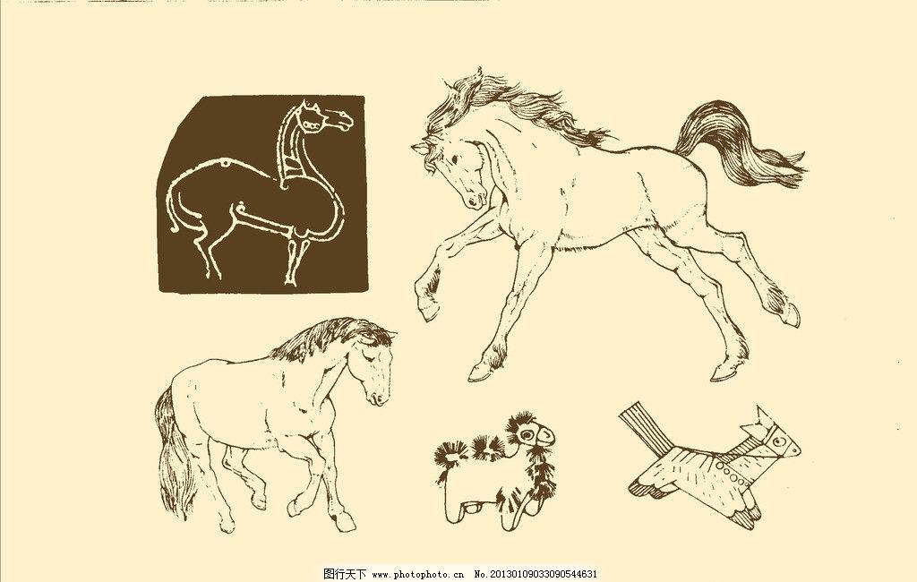 幼儿园简单马动物的简笔画